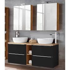 badezimmer set mit 2 keramik aufsatzwaschbecken und 2 spiegelschränken