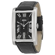 Hugo Boss Black Dial Black Leather Strap Men's Watch 1512708