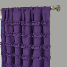 bathroom purple ruffle curtains with silver pole and grey wall