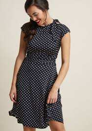 Dance Floor Date A Line Dress In Black Dots