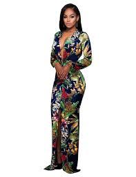 women deep v neck long sleeve front split flower print slim