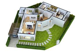 2 Bedroom Home Plans Colors Simple House Plan With 3 Bedrooms And Garage 3d Www Sieuthigoi Com