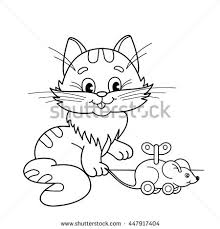 Coloring Page Outline Of Cartoon Cat With Toy Clockwork Mouse Book For Kids