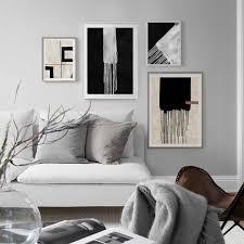 abstrakte geometrische schwarz weiß grau poster leinwand gemälde wand kunst druckt poster bild wohnzimmer dekoration kein rahmen