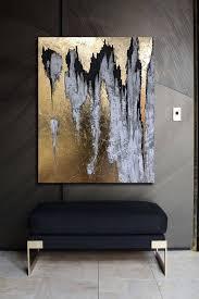 schwarz weiß malerei abstrakte große schwarze gold malerei