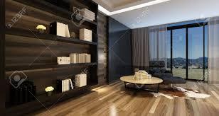 gemütliches wohnzimmer interieur in einem stilvollen modernen haus mit einem großen wandschrank und schwarzen lehnstuhl vor panoramafenstern