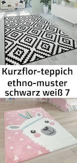 kurzflor teppich ethno muster schwarz weiß 7 decor home