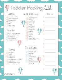 Toddler Packing Checklist Free Printable For When We Travel Fantabulosity