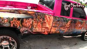 PINK Chevy Dually Truck, CUSTOM GRAPHICS PAINT JOB, On 24