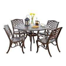 Amazon.com: Hallandale Outdoor Furniture Dining Set, Cast Aluminum ... Bella All Weather Wicker Patio Ding Set Seats 6 Maribella White Modern Outdoor Eurway Marquesas 7pc Tortuga Polywood La Casa Cafe Commercial Collections 5piece Wrought Iron Fniture 4 12 Seater Table Kf87 Roccommunity Tommy Bahama Misty Garden French Country Glass Top Metal Roundup Emily Henderson Signature Design By Ashley Marsh Creek 7piece Dublin Ireland Lisbon 220cm 8 Seat Catalina Chairs Temple Webster
