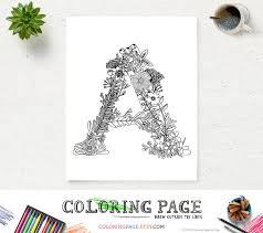 Printable Floral Alphabet Coloring Page Letter A Instant