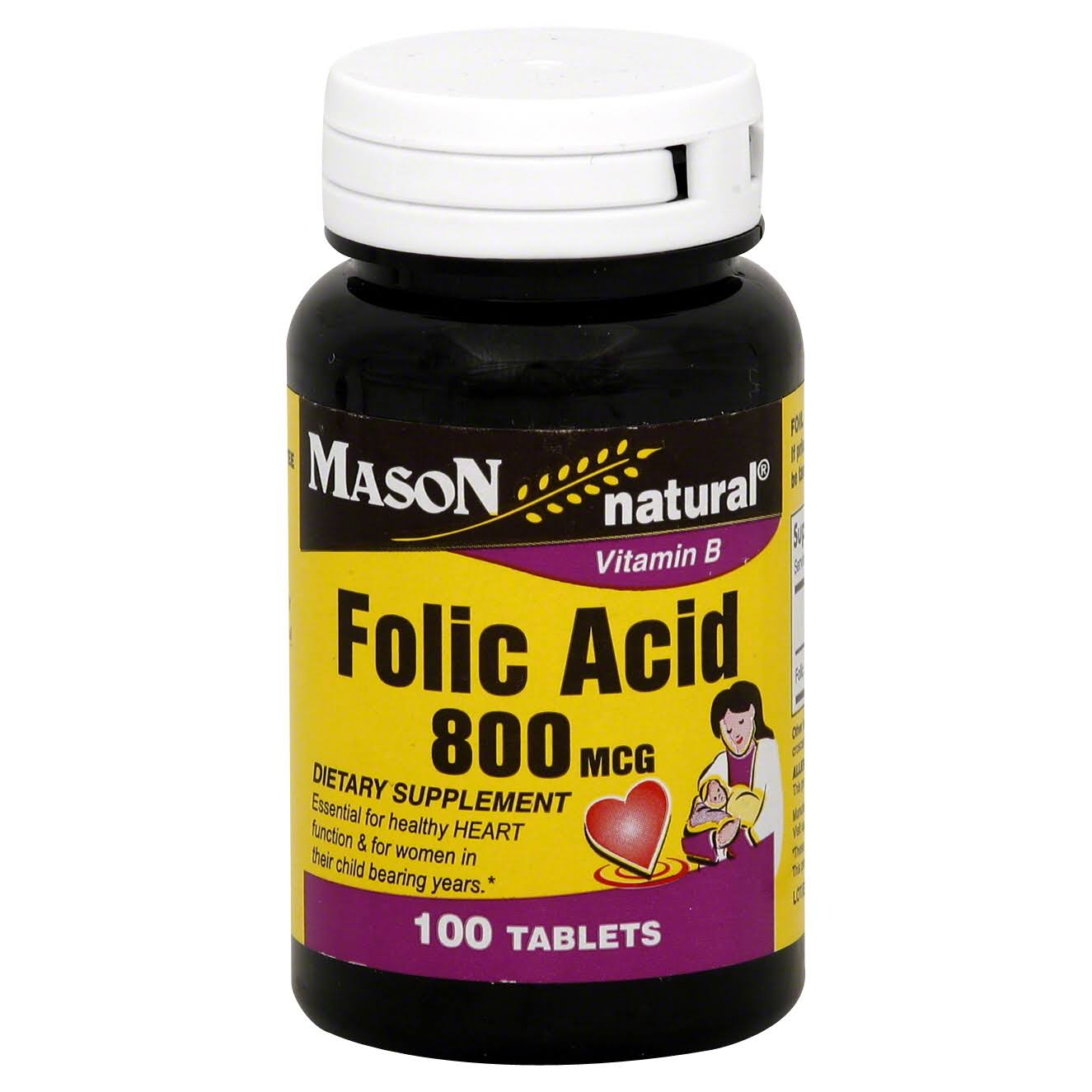 Mason Natural Vitamin B Folic Acid Dietary Supplement - 100 Tablets