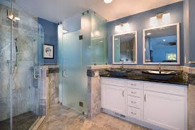 exquisite master bath with 3 sided fireplace frosted glass