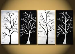 White Painting HUGE Trees Abstract Wall Art Large Modern Home Decor ORIGINAL Canvas