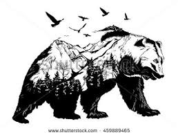 Vector Double Exposure Bear For Your Design Wildlife Concept
