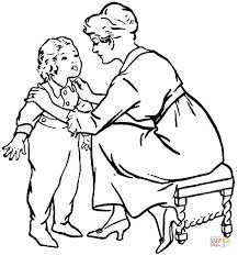 Click The Mother Is Talking To A Child Coloring Pages