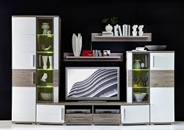 hochwertige anbauwand wohnwand wohnzimmerschrank schrankwand silbereiche deko