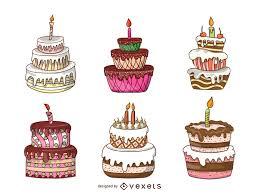 Isolated cake illustration set Download Image px
