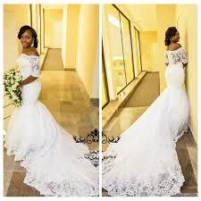 Vintage 1 2 Long Sleeves Wedding Dress White Lace Appliques Slim