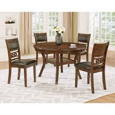 Brown Traditional 5 Piece Round Dining Set