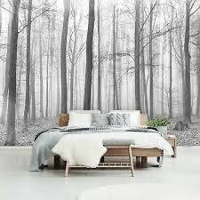 vlies fototapete schwarz weiß wald landschaft wohnzimmer