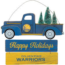 Golden State Warriors Truck And Tree Wooden Sign