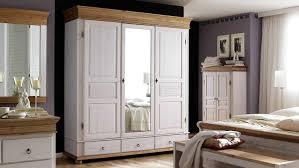 kleiderschrank oslo kiefer massiv weiß antik 3 trg mit spiegel