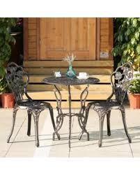 IKayaa 3PCS Modern Outdoor Patio Garden Bistro Set Iron Aluminum Porch Balcony Cafe Table Chairs