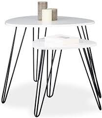 relaxdays beistelltisch weiss 2er set eckiger dreibeiner holz sofatisch für wohnzimmer hxd 52 x 60 cm glänzend weiß