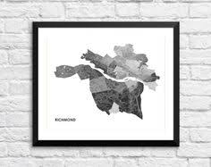 Richmond VA Art Map Print Color Options And Size By Juanitas
