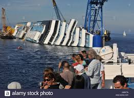 recovery work at sinking cruise liner costa concordia at harbour