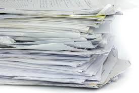 Download Piled Up Office Work Papers Stock Photo
