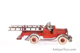 Hubley Fire Truck With Ladders From The 1930s For Sale *pending ... Vintage Tootsie Toy Fire Trucks Country Tazures Toys Pickup Trucks Lot 9 Vtg 1970s Diecast Plastic Jeep Uhaul Panel Otsietoy Red Hook And Ladder Truck Facing Front Right Otsietoy Aerial With Extension 1940s Tootsietoy 236 Lofty Antique Water Tower 1920s 4 Color Version Hubley Ladders From The 1930s For Sale Pending Prewar Tootsietoys Article By Clint Seeley
