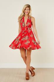 flirty red dress floral dress halter dress 49 00