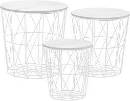 metall beistelltisch mit stauraum weiß 3er set wohnzimmer tisch mit abnehmbarer holz platte metallkorb sofatisch couchtisch