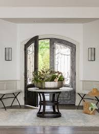 Foyer Table Decorations Entry Beach Style With French Doors Round Wall Sconces