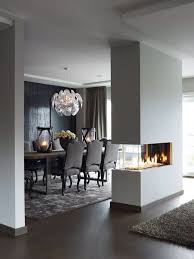Nice Fireplace In The Modern Dining Room