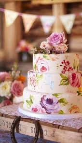 A Hand Painted Floral Wedding Cake Lends Definite Vintage Feel It Also Works Great In More Rustic Setting