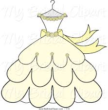 Bridal Clipart of a Cream and Yellow Wedding Dress with Ribbons and Roses on a Hanger