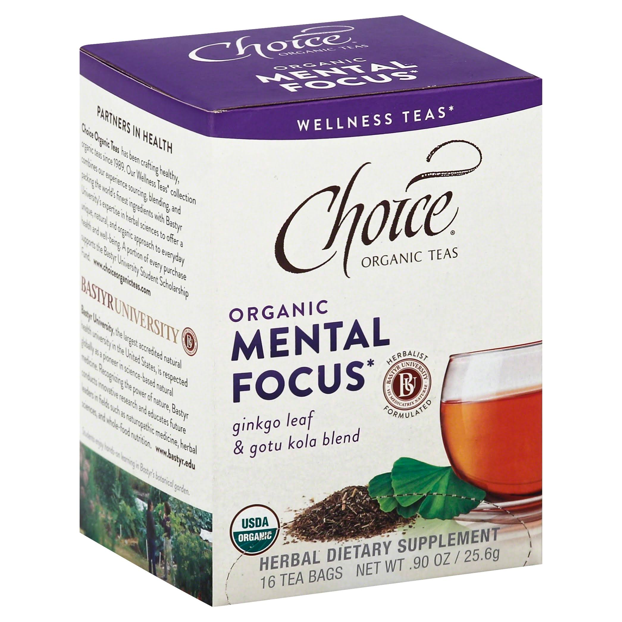 Choice Organic Mental Focus Tea - Ginkgo Leaf and Gotu Kola Blend
