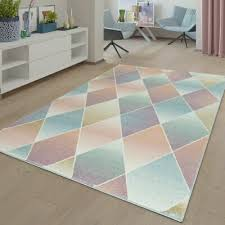 teppich wohnzimmer modern kurzflor mehrfarbig muster floral