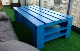 Upcycled Pallet Blue Painted Coffee Table