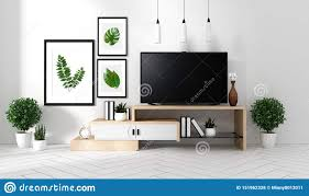 100 Zen Style House Mock Up Smart Tv Mockup With Blank Black Screen Hanging On