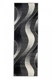teppich läufer kurzflor modern schwarz grau creme wellen