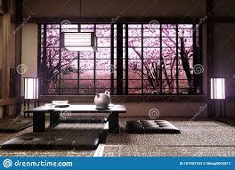 100 Zen Style Living Room Sakura Tree Window View In Interior With 3D