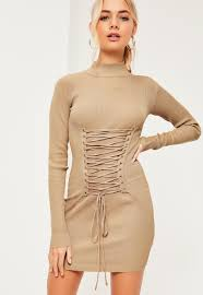 corset lace up detail jumper dress missguided
