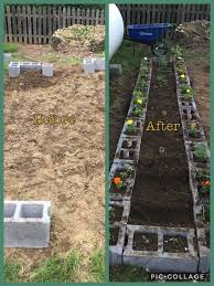 Cinder block raised bed Ve able garden with panion plants