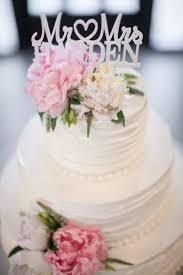 Wedding Cake With Fresh Pink And White Peonies Greenery Topper Couples