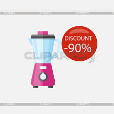 Electronic Device Red Bubble Discount Percentage Sale Badge Label In Flat Style Mixer Blender Blend Isolated Fruit Smoothie