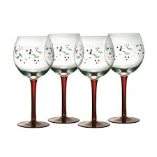 Spode Christmas Tree Juice Glasses by Amazon Com Pfaltzgraff Winterberry 13 Ounce Glass Goblets Set